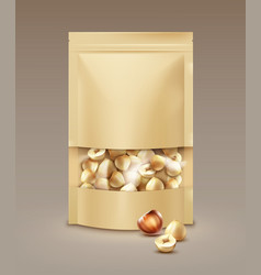 Bag full of hazelnuts vector