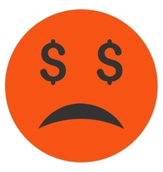 Bankrupt smiley flat icon vector
