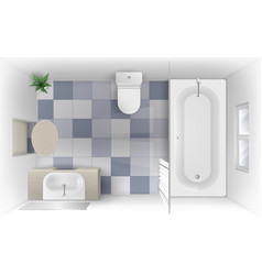 Bathroom with bath sink and toilet bowl top view vector