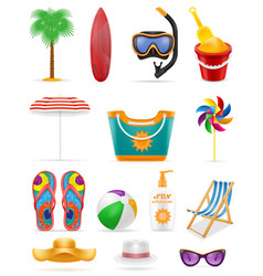 beach leisure objects stock vector image