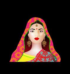 beautiful indian young woman in colorful sari vector image
