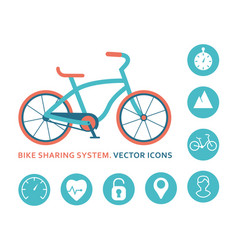 bike sharing system icons for mobile application vector image