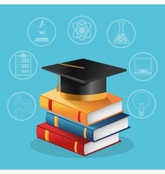 Books graduation cap and icon set design vector