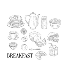 Breakfast Related Isoated Food Items Hand Drawn vector
