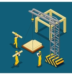 Building construction beginning isometric banner vector