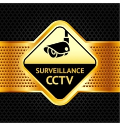 Cctv symbol on a metallic perforated background vector