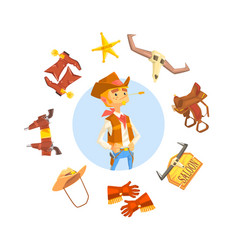 cheerful cowboy sheriff character wild west vector image