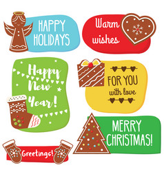 christmas and new year greeting tags with vector image