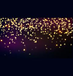 confetti golden falling hearts saint valentines vector image