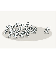 crowd chasing leader vector image