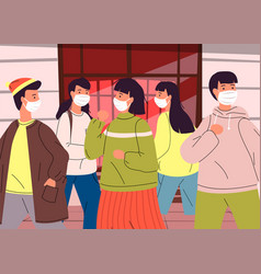 crowd people in face medical masks break rules vector image