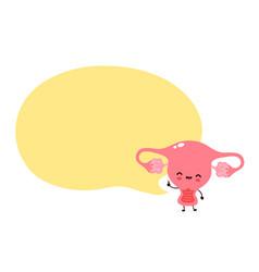 cute happy funny uterus with speech bubble vector image