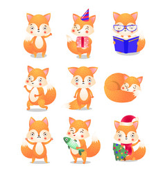 Cute little fox in action set raster vector