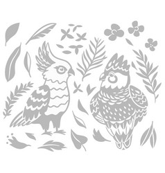 Decorative australian birds - cockatoo and vector