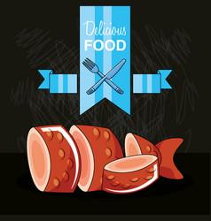 delicious fresh fish icon vector image