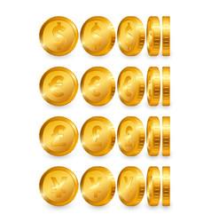 dollar euro pound yen gold coins set isolated vector image