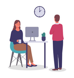 employees in office girl at table with vector image