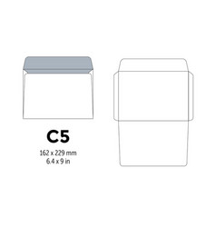 envelope c5 template for a4 a5 paper with cut vector image