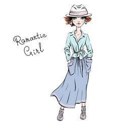 Fashion girl in autumn clothes vector