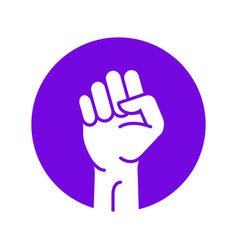 fist hand power logo protest strong fist raised vector image
