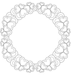 Flower black and white wreath for valentine day vector