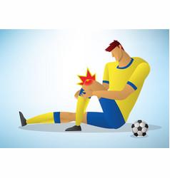 Football player injured on knee vector