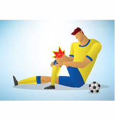 Football player injured on the knee vector