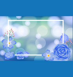 Frame template design with blue flowers vector