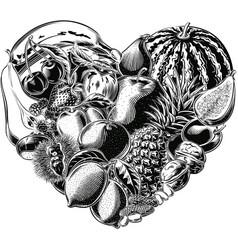 Fruit heart healthy food vector