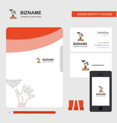 ghost hand business logo file cover visiting card vector image