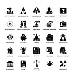 glyph icons project management vector image
