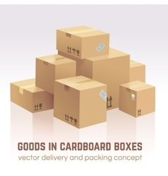 Goods in cardboard boxes delivery and vector