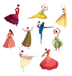 Graceful girl in beautiful dress performing dance vector