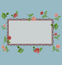 greeting card with pink roses on blue background vector image