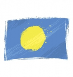 grunge Palau flag vector image