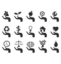 hand concept icons set vector image
