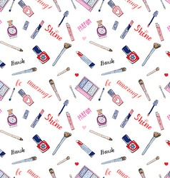 Hand drawn collection of make up cosmetics and vector image