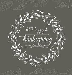 Happy thanksgiving floral wreaths vector image