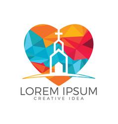 Heart with church building logo design vector