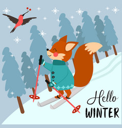 Hello winter poster with fox skiing in forest vector