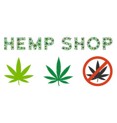 Hemp shop caption collage of hemp leaves vector