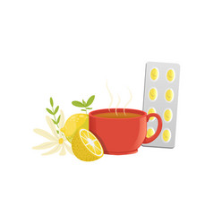 herbal tea in a red cup lemon chamomile and vector image