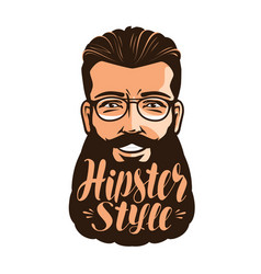 hipster style lettering portrait of happy vector image