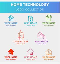 Home internet logo collection design wifi house vector
