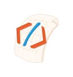 HTML file icon in cartoon style vector