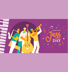 international jazz day poster of live music band vector image