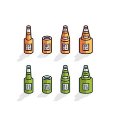 isometric beer bottles vector image