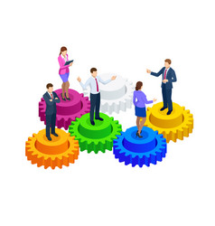 isometric business people on gears collaboration vector image