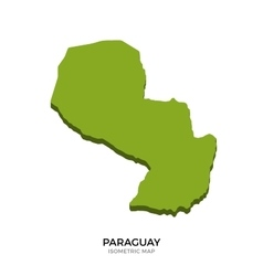 Isometric map of paraguay detailed vector