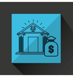 Justice bulding bag money icon graphic vector